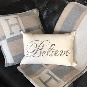 Kathy Ireland Believe Beaded Pillow 12x18